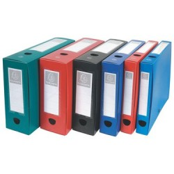 Lot de 10 Boîtes d'archives à pression EXACOMPTA en Polypro Dos 80 mm (Bleu)
